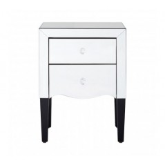 Graciela Bedside Table 2 Drawers Silver