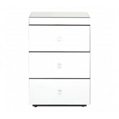 Graciela Bedside Table 3 Drawers Silver