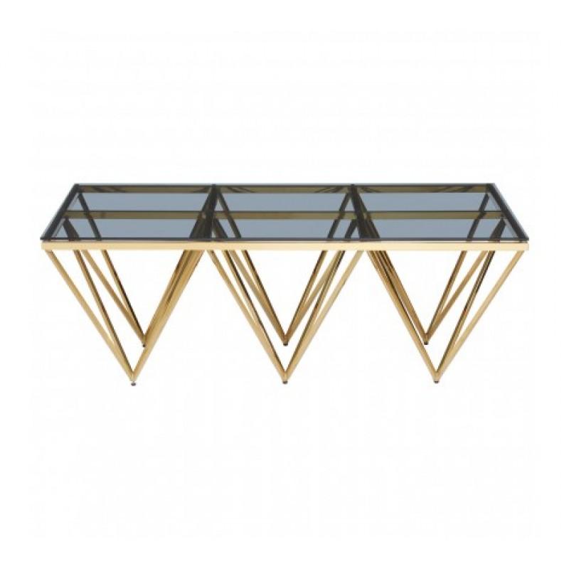 Allure Console Table Triple Triangle Gold