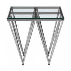 Allure End Table Double Triangle Clear