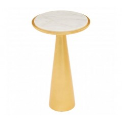 Lino Side Table Marble Large Gold