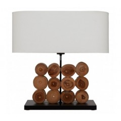 Hestina Table Lamp Wood Round Brown