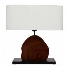 Hestina Table Lamp Wood Curved Brown