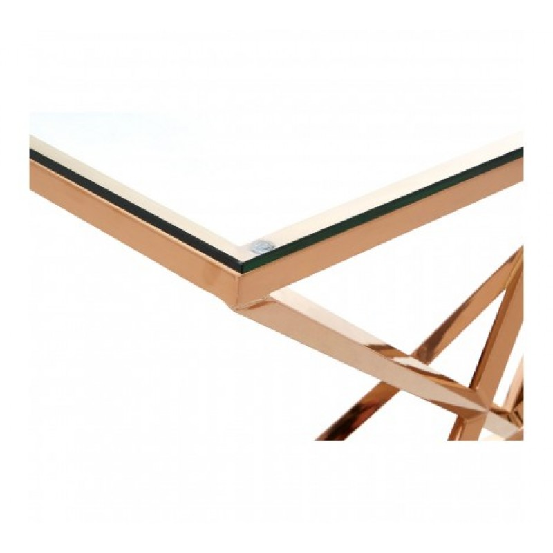 Allure Console Table Geometry Rectangular Rose Gold