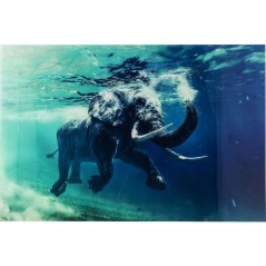 Picture Glass Swimming Elephant 80X100cm
