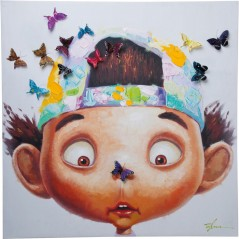 Picture Touched Boy with Butterflys 100x100cm