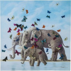 Picture Touched Elefants with Butterflys 120x120cm