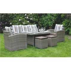 DE Retsehcniw Outdoor Set with Glass Top Table + Cushion