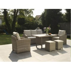 DE Retsehcniw Outdoor Set with Lavastone Table + Cushion