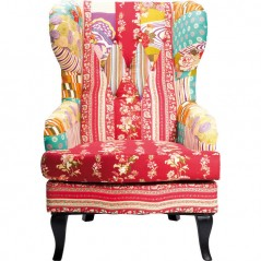 Wing Chair Patchwork Red