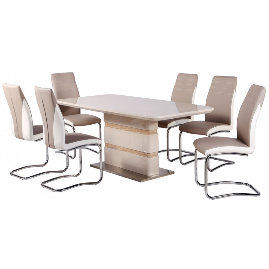 Cream gloss dining table and chairs stocktonandco - Cream dining tables and chairs ...