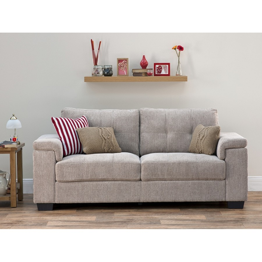 Harlow Natural Fabric 3 Seater