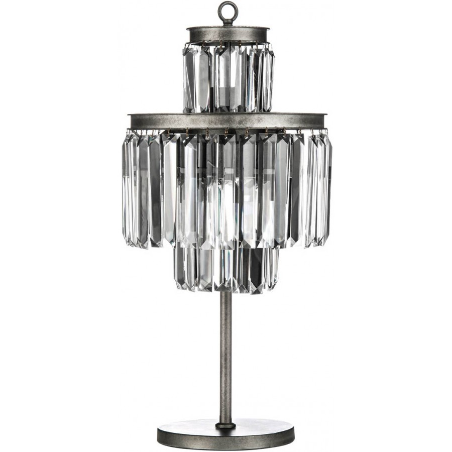 art deco table lamp iron crystal. Black Bedroom Furniture Sets. Home Design Ideas