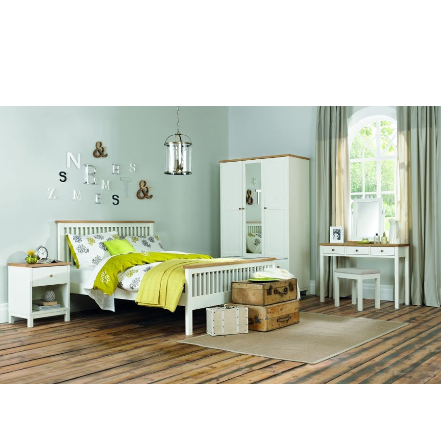 Bedroom Furniture Bd: BD Ruthland Soft-Grey-and-Oak-Bedstead