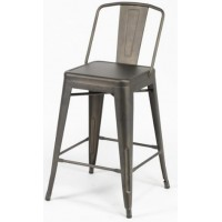ZI Metal Grey Industrial Mid Hight Bar Chair