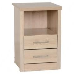 Lis Light Oak Effect 2 Drawer 1 Shelf Bedside Cabinet Ws