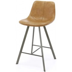ZI Helna PU Cowhide Brown Bar Stool