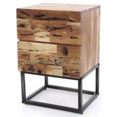 Zi Millar Bedside 2 drawer Table Solid Wood Industrial