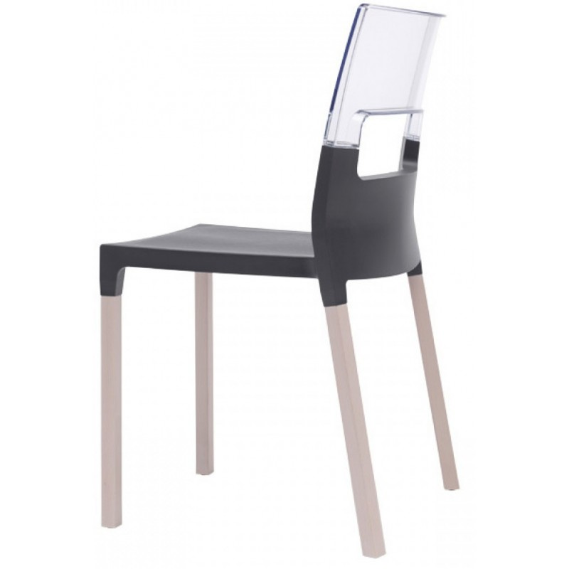 SC Natural Diva chair Transparent + Anthracite-grey