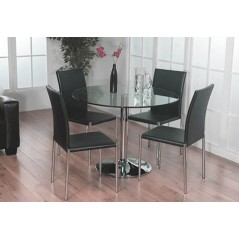 Metro Round Black Glass & 4 Chairs