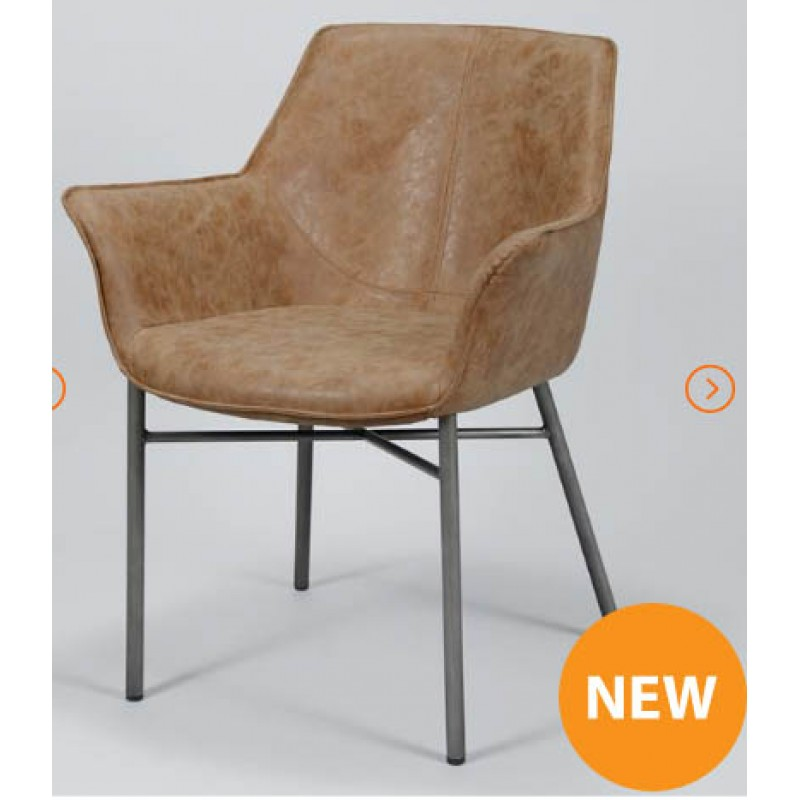 ZI Industrial Wing Dining Chair Brown