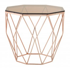 Allure End Table Geometry Diamond Rose Gold