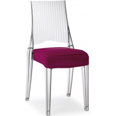 SC Glenda Chair Transparent with Purple Seat Cushion