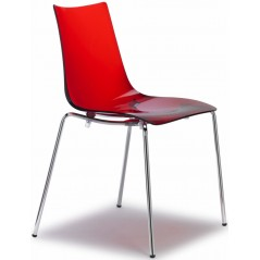 SC Zebra Italy Antishock Chair with 4 legs Transparent Red