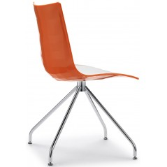SC Zebra Italy Chair with Swivel Base White+Orange