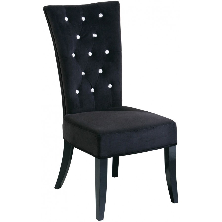 Hera black velvet diamante chair for Black dining room chairs